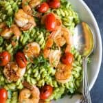 chimichurri avocado pasta with pan seared shrimp and tomatoes