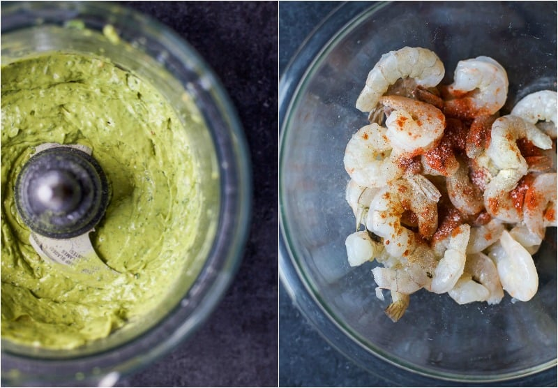 A collage avocado sauce in a food processor and seasoned raw shrimp in a bowl