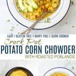 pinterest image for easy crock pot potato corn chowder recipe