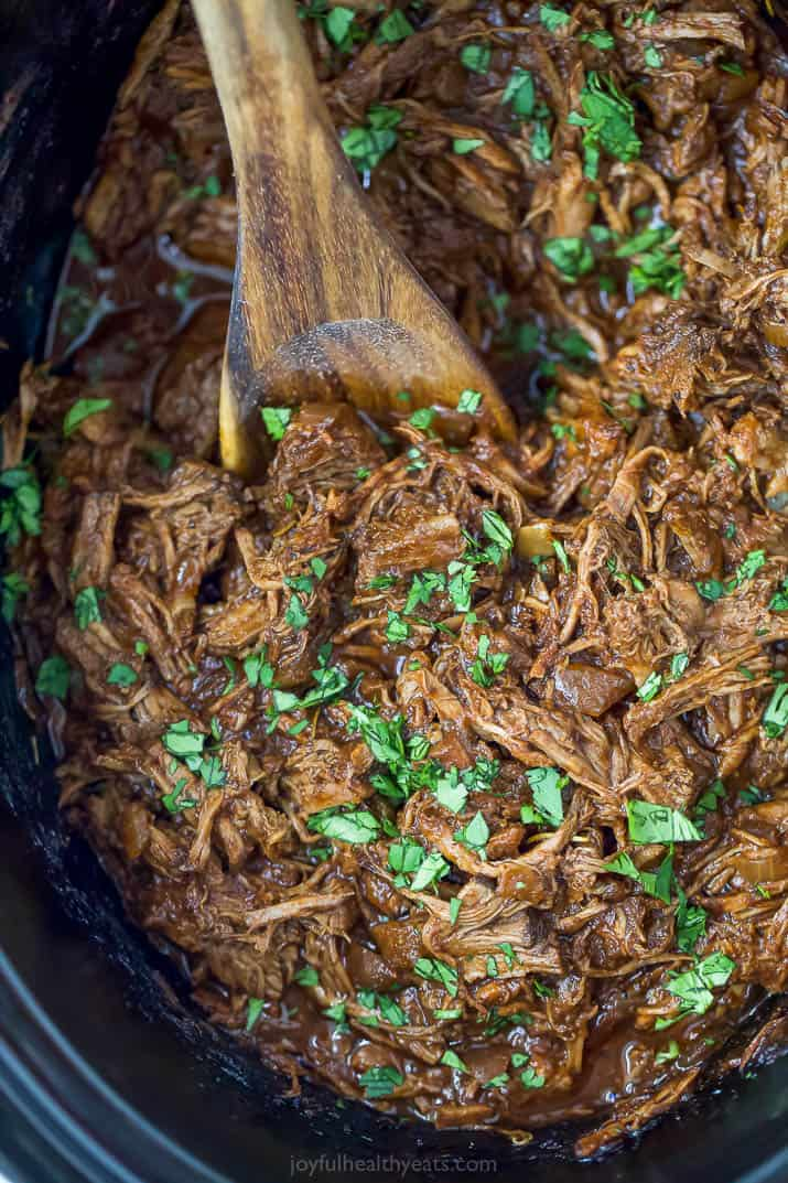 easy slow cooker barbacoa short rib tacos in the crockpot