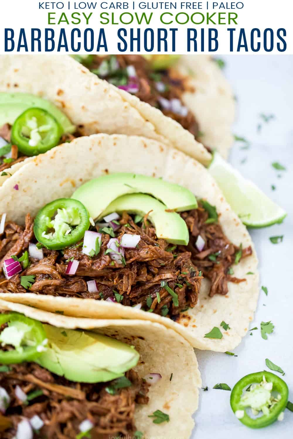 pinterest image for easy slow cooker barbacoa short rib tacos