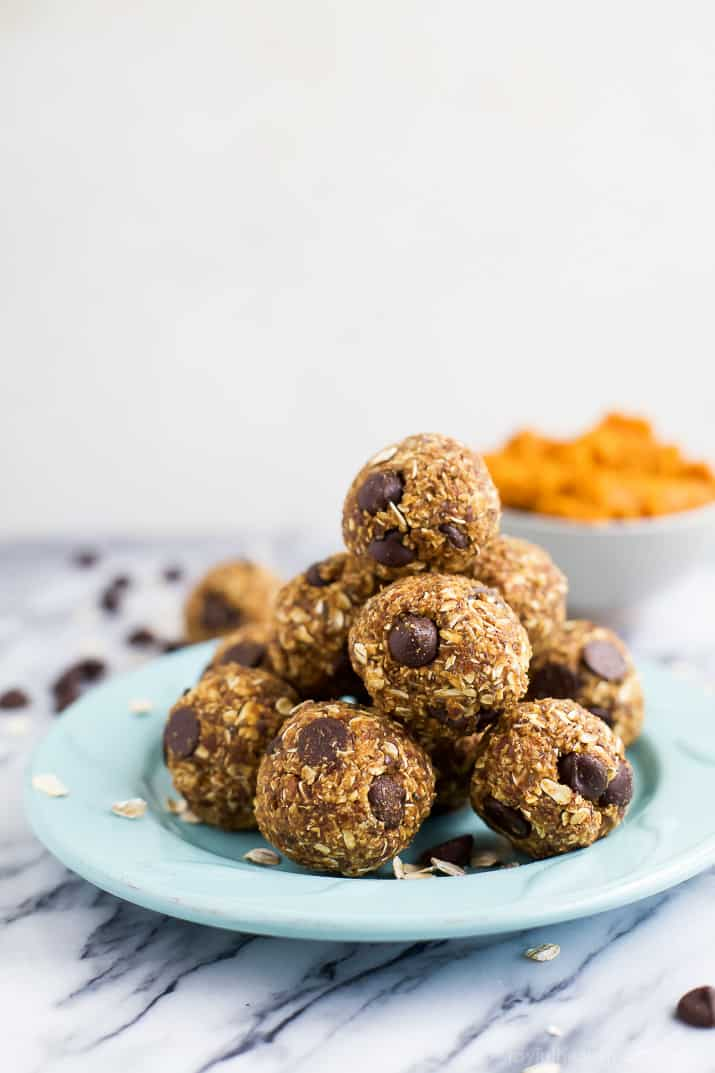 A Plate Piled with Pumpkin Chocolate Chip Energy Bites