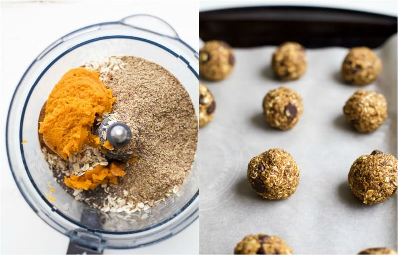 Kick up your energy during the day with these easy healthy Pumpkin Chocolate Chip Cookie Energy Bites! The perfect bite of pumpkin this fall and great for a midday snack!   joyfulhealthyeats.com