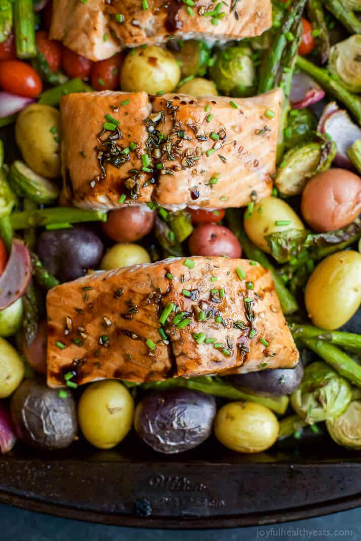Sheet Pan Balsamic Salmon with Asparagus & Brussels Sprouts | Easy Healthy Recipes