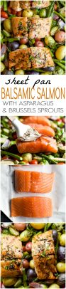Sheet Pan Balsamic Salmon and vegetables photo collage