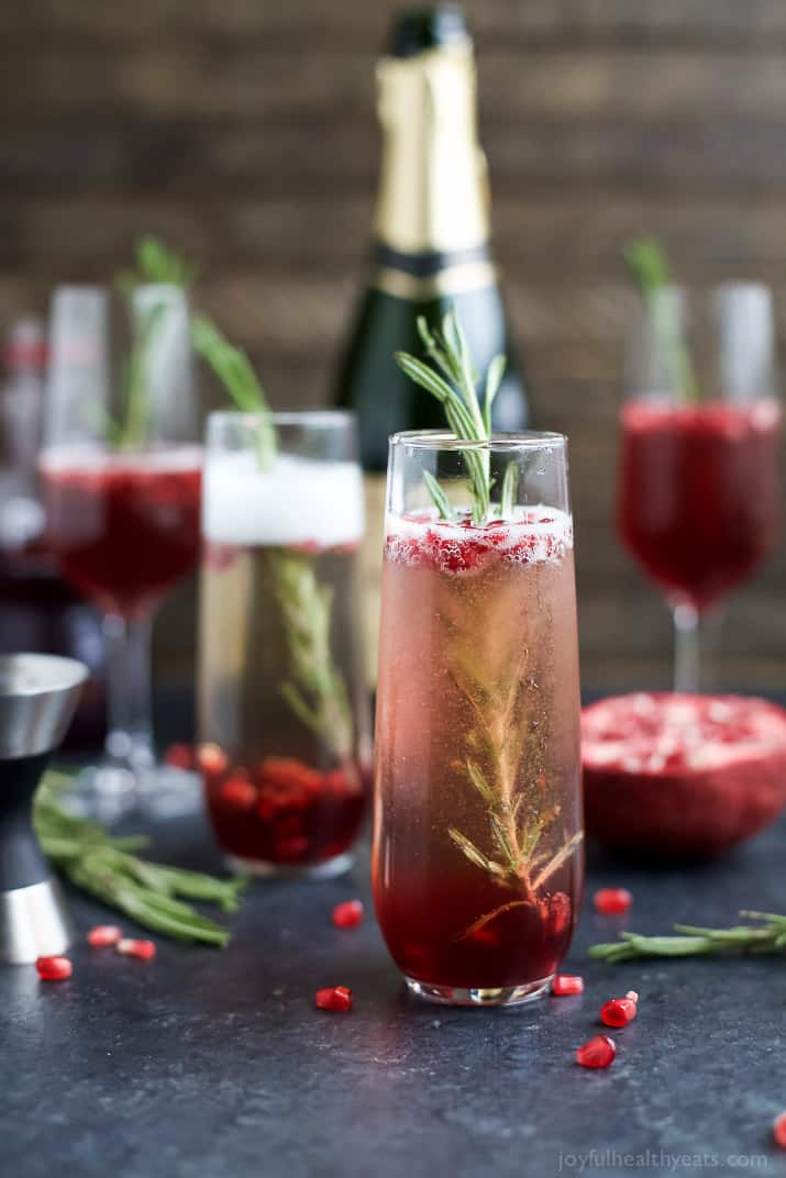 4 Ingredient Sparkling Pomegranate Mimosas are a fun cocktail to start your weekend with! Perfect for the holidays, great for brunch or a girls weekend!   joyfulhealthyeats.com
