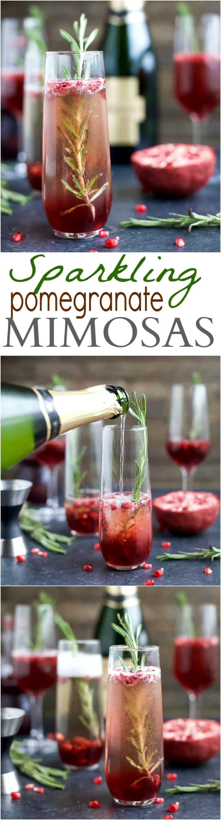 Sparkling Pomegranate Mimosas | Easy Champagne Cocktail Recipe