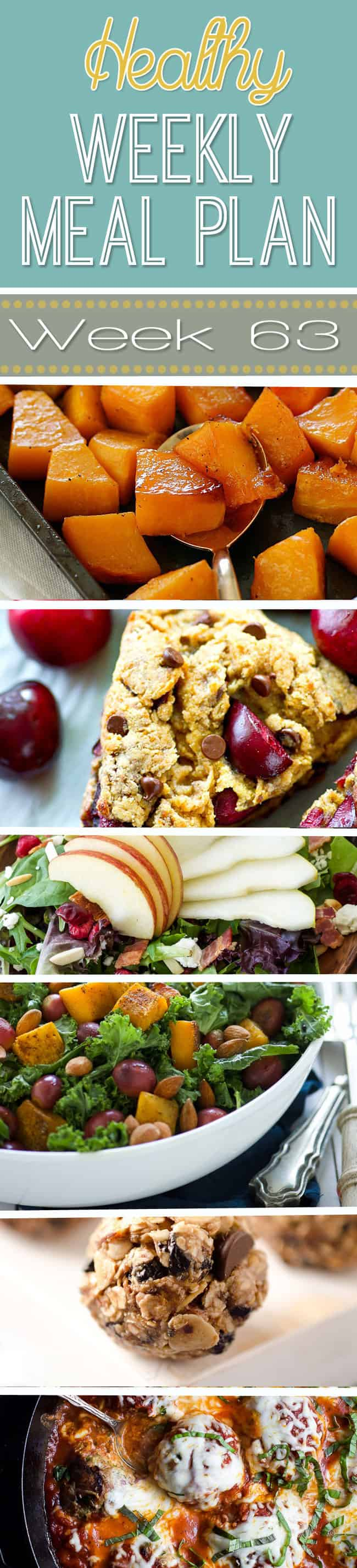 week-63-Make your life easier AND healthier! This healthy meal plan has a weeks worth of healthy recipes you can make for your family for breakfast, lunch, and dinner with a few snacks and desserts snuck in!   joyfulhealthyeats.com #family #dinnerideas #kidfriendly