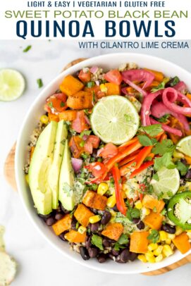 pinterest image for easy sweet potato black bean quinoa bowls with crema
