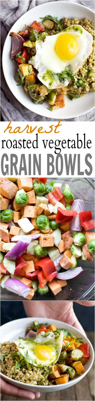 Recipe collage for Harvest Roasted Vegetable Grain Bowls