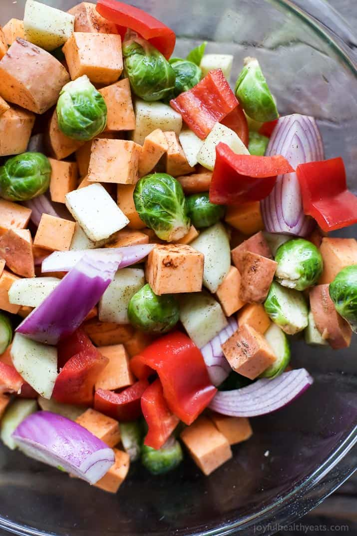 Close-up of a bowl of diced vegetables for roasting
