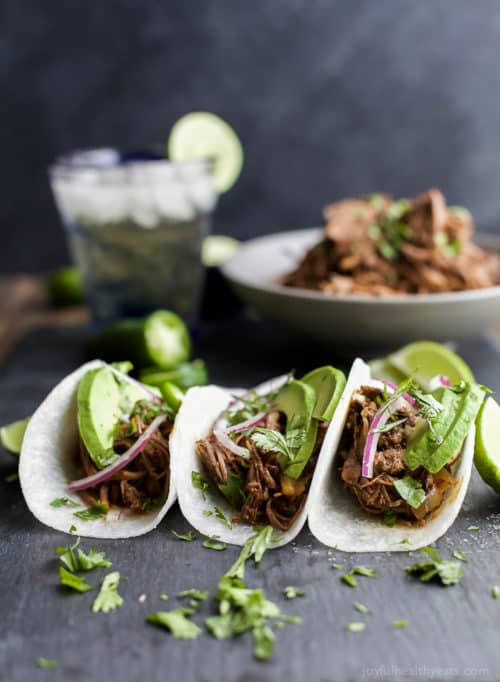 These Paleo Crock Pot Balsamic Braised Short Rib Tacos will be your new favorite Crock Pot recipe! Cuz Tacos… duh! They are sweet & spicy, easy, healthy, and totally deliver on flavor! You're gonna be in love!
