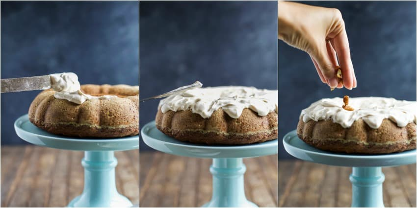 A Collage of Images of Topping the Cake with Frosting and Pecans