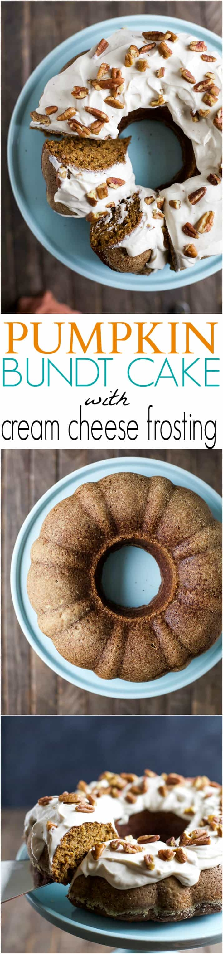 Three Images of Pumpkin Bundt Cake on Top of a Table