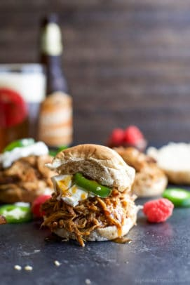 Raspberry chipotle chicken slider sandwich