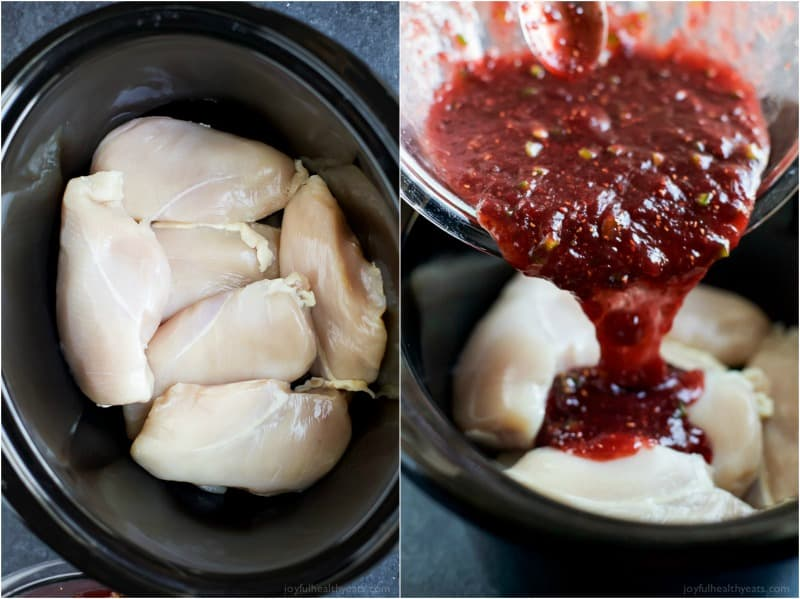 Crock Pot Raspberry-Chipotle Chicken Sliders are an easy meal for your next weeknight family dinner! That Sweet, Spicy Smoky sauce will get you every time! | joyfulhealthyeats.com