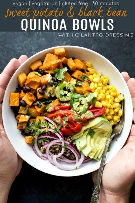 pinterest image for sweet potato black bean quinoa bowls