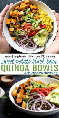pinterest image for sweet potato black bean quinoa bowls with crema