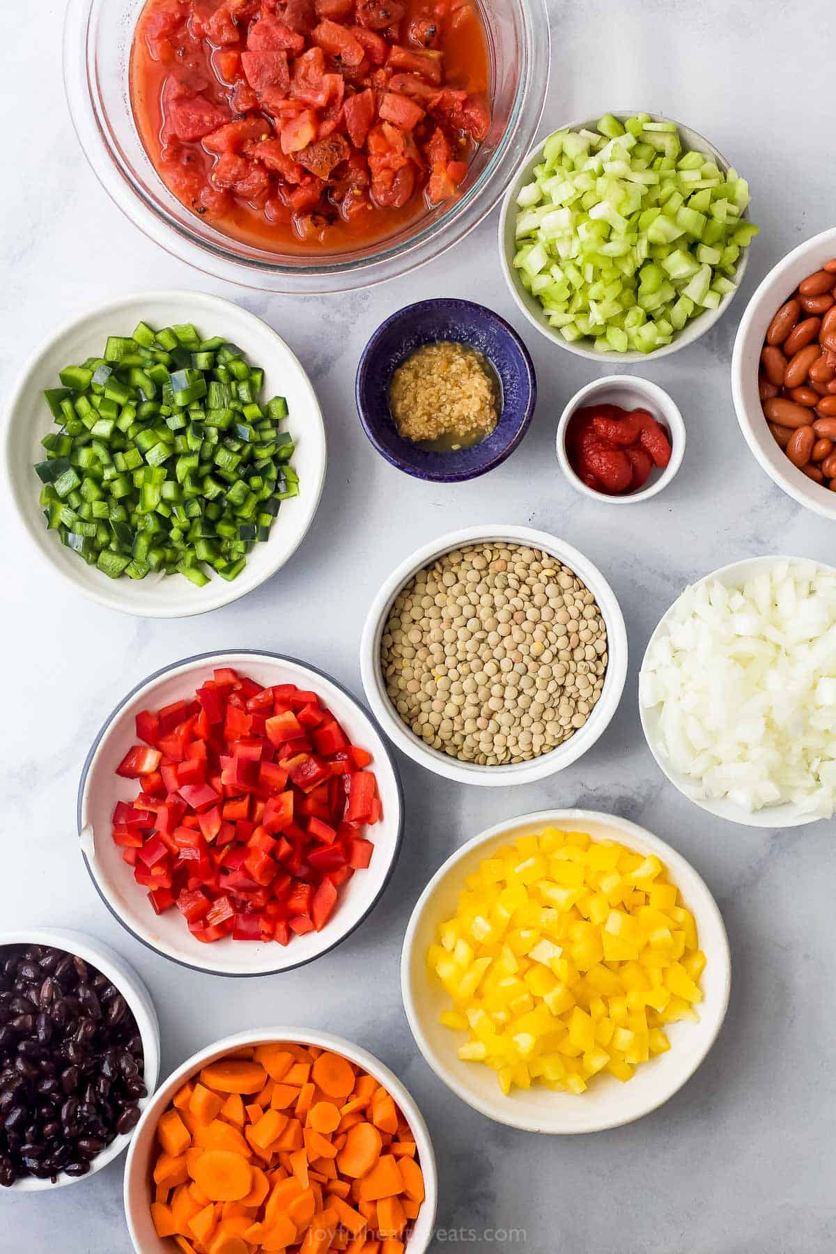 ingredients for vegetarian lentil chili
