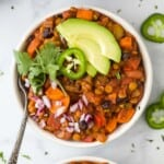 bowl filled with vegetarian lentil chili