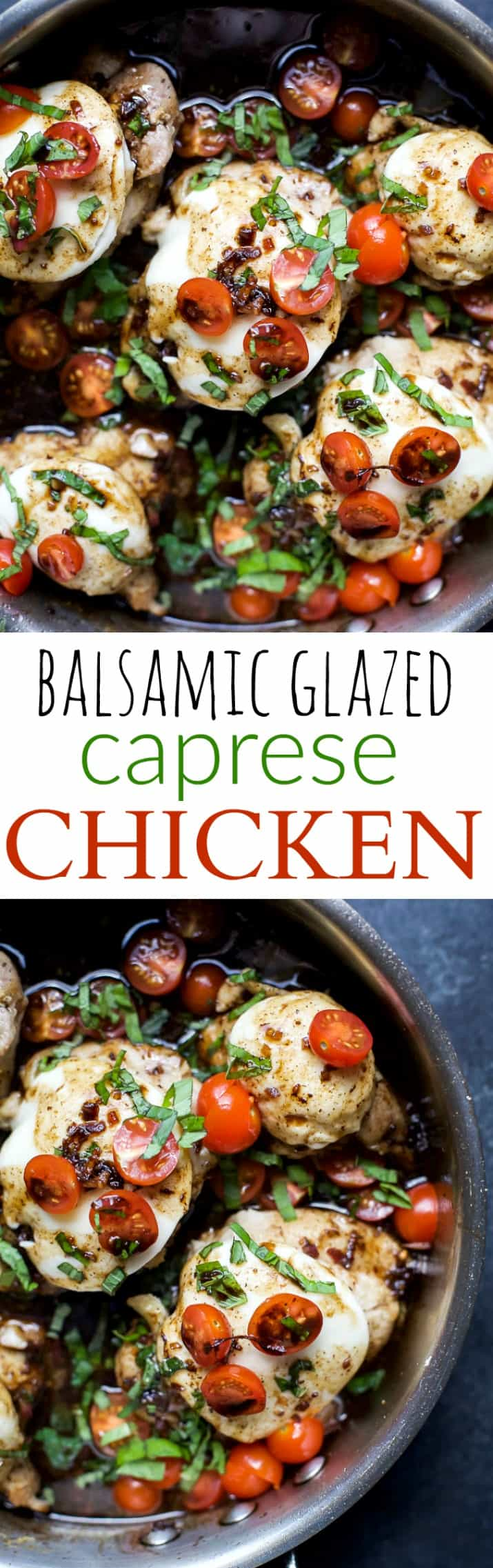 One Pan Balsamic Glazed Caprese Chicken - an easy recipe done in less than 40 minutes. Tender juicy Chicken cooked in balsamic glaze, I guarantee you'll love it! | gluten free recipes