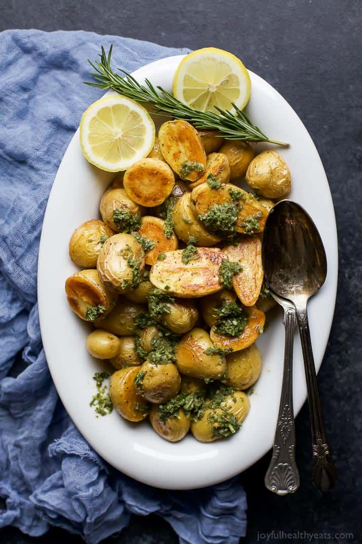 Crispy Roasted Potatoes with Sage Salsa Verde