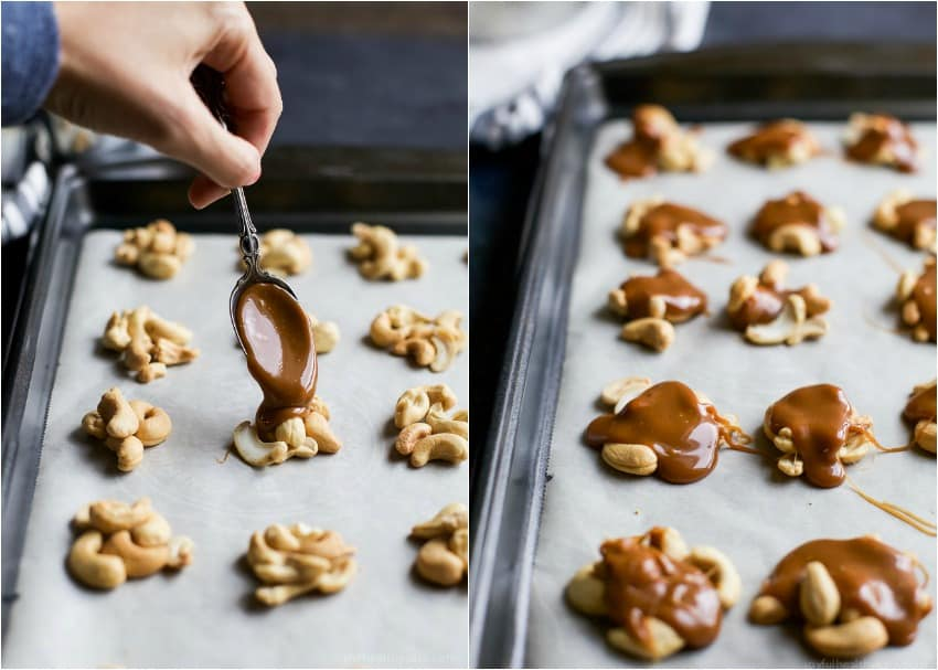 Collage of steps to make Espresso Cashew Clusters