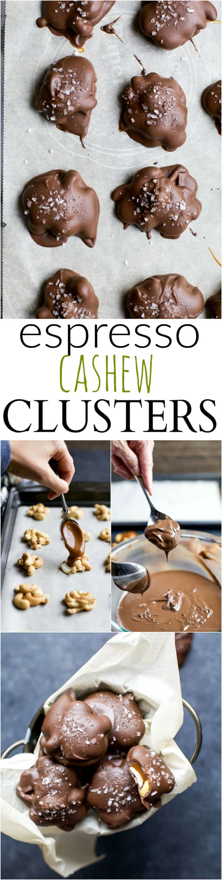 Decadent ESPRESSO CASHEW CLUSTERS using just 4 simple ingredients! These clusters are filled with caramel and covered with an espresso flavored dark chocolate! A holiday treat you'll want to eat all year round! | joyfulhealthyeats.com