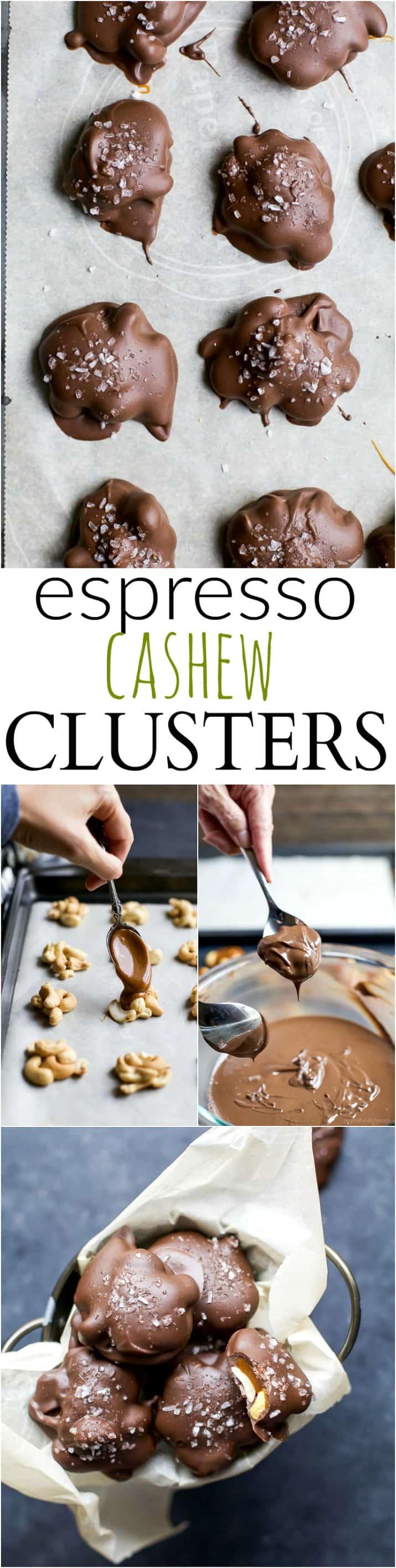 Recipe collage for Espresso Cashew Clusters
