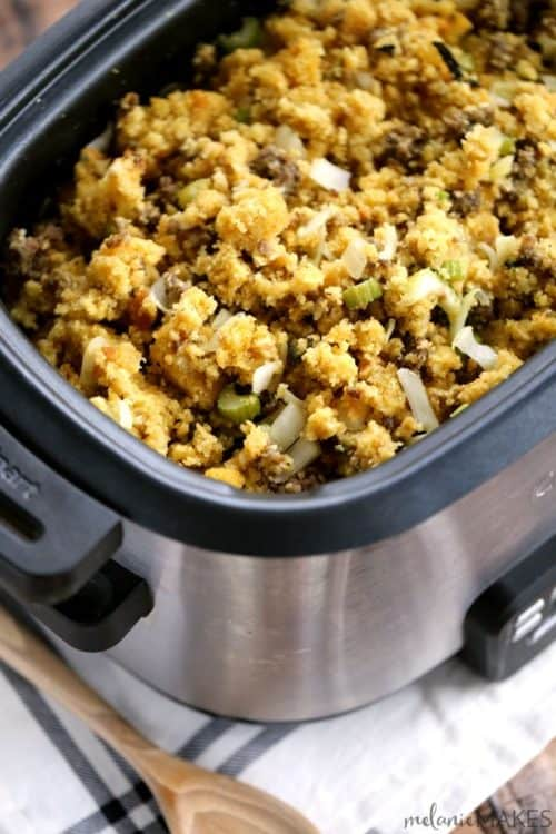 Slow Cooker Cornbread & Sausage Stuffing | Melanie Makes