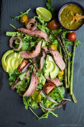 grilled california steak salad with chimichurri dressing