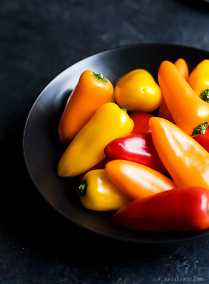 A bowl of mini bell peppers