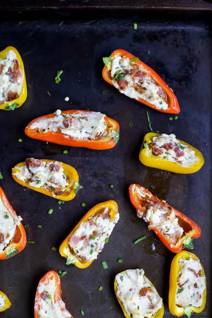 Bacon and cheese stuffed mini bell pepper halves