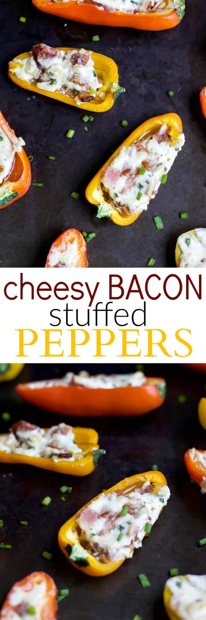 Cheesy Bacon Stuffed Peppers made with mini bell pepper halves