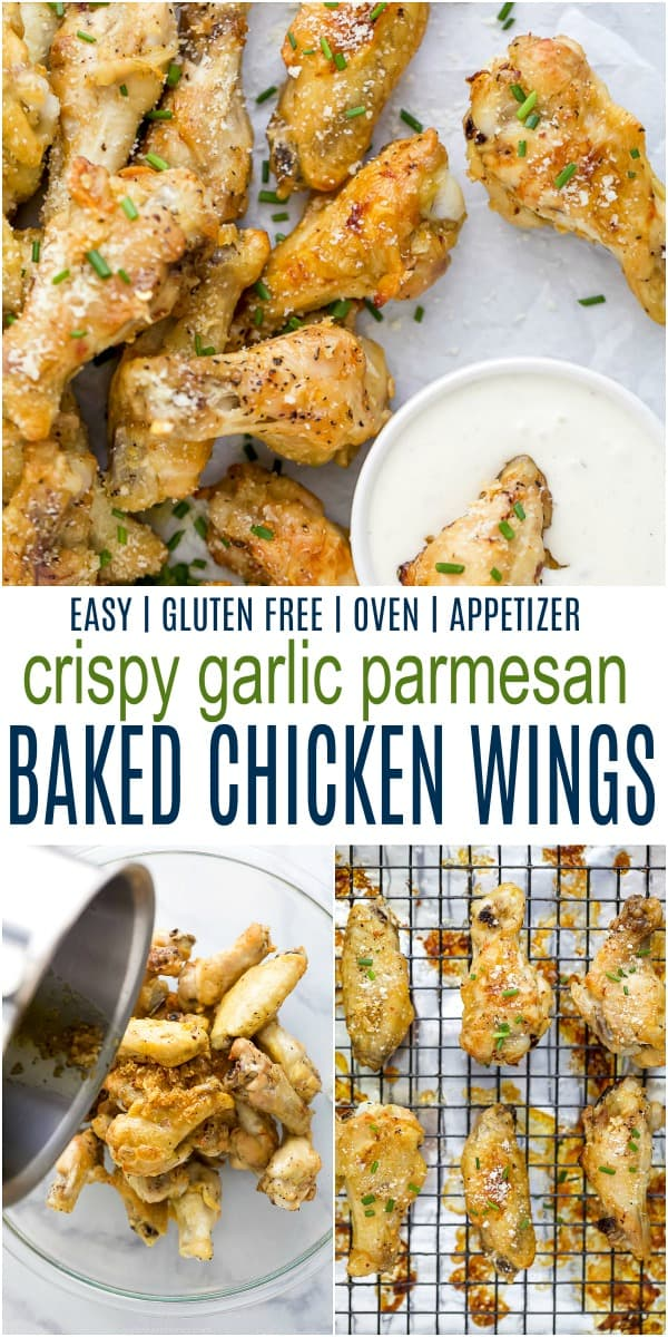 Collage for crispy baked garlic parmesan chicken wings recipe