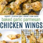 pinterest image for crispy baked garlic parmesan chicken wings