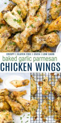 pinterest image for crispy baked garlic parmesan chicken wings