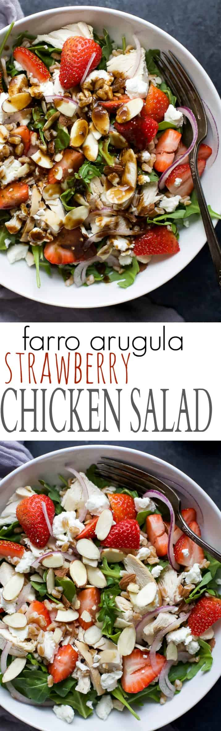 Recipe collage for Farro Arugula Strawberry Chicken Salad