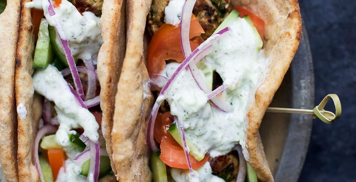 30 Minute Greek Turkey Meatball Gyros topped with a classic Tzatziki Sauce you'll want to swim in! These Gyros are the perfect healthy dinner option for the family and clock in 429 calories! | joyfulhealthyeats.com