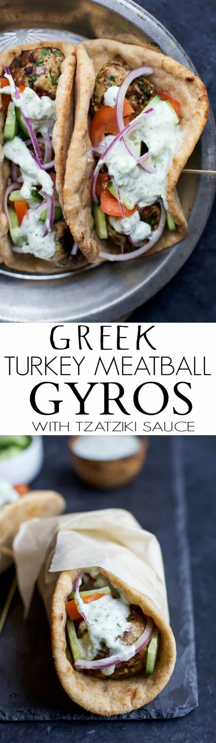 Recipe collage for Greek Turkey Meatball Gyros with Tzatziki Sauce