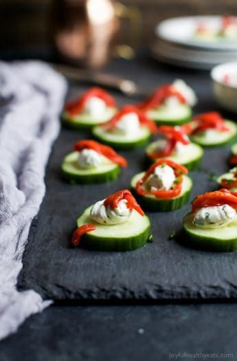 Fresh Cucumber Bites Topped with Herb Cream Cheese & Sweet Piquillo Peppers