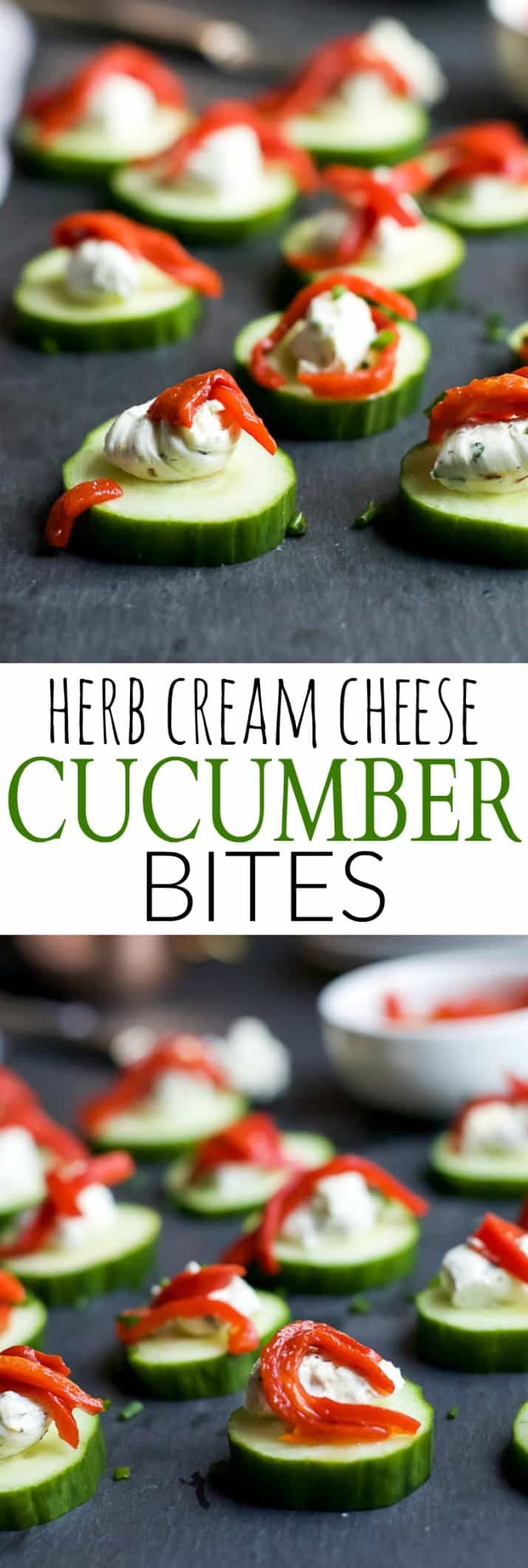 Fresh Simple Cucumber Bites topped with a zesty Herb Cream Cheese and sweet Piquillo Peppers. The perfect refreshing appetizer recipe for your next party!