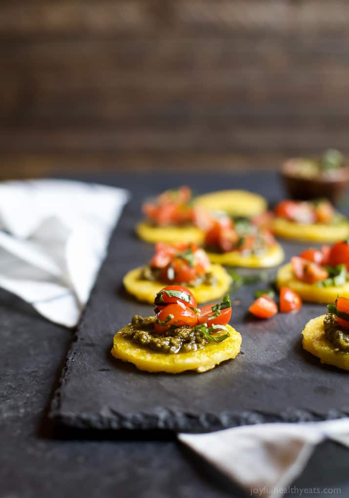 Image of Crispy Polenta Bites with Fresh Tomato Bruschetta