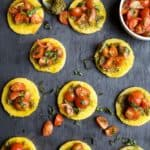 Pesto Polenta Bites with Tomato Bruschetta