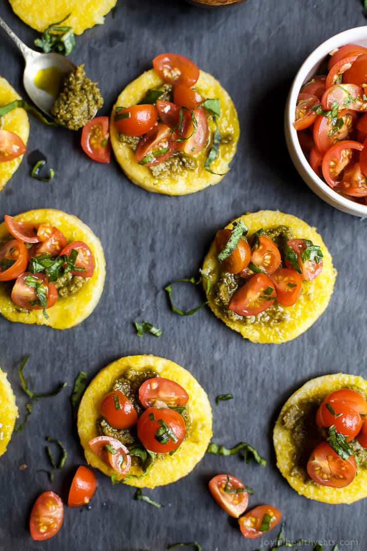 Image of Crispy Polenta Bites with Basil Pesto & Tomato Bruschetta