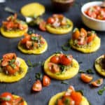 Image of Pesto Polenta Bites with Tomato Bruschetta