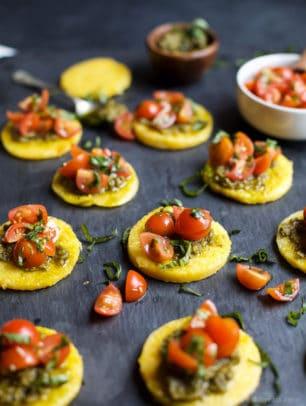 Image of Pesto Polenta Bites with Tomato Bruschetta