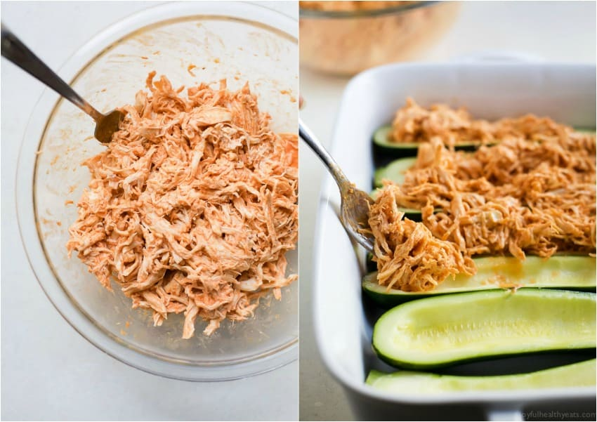 A collage of a bowl of shredded buffalo chicken and zucchini boats being filled with shredded buffalo chicken