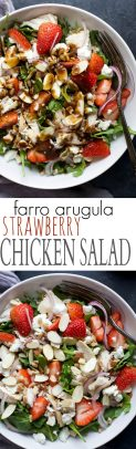 Farro Arugula Strawberry Chicken Salad Recipe (Rotisserie Chicken)