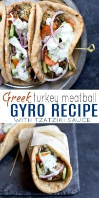 pinterest image for Greek Turkey Meatball Gyros with Tzatziki Sauce